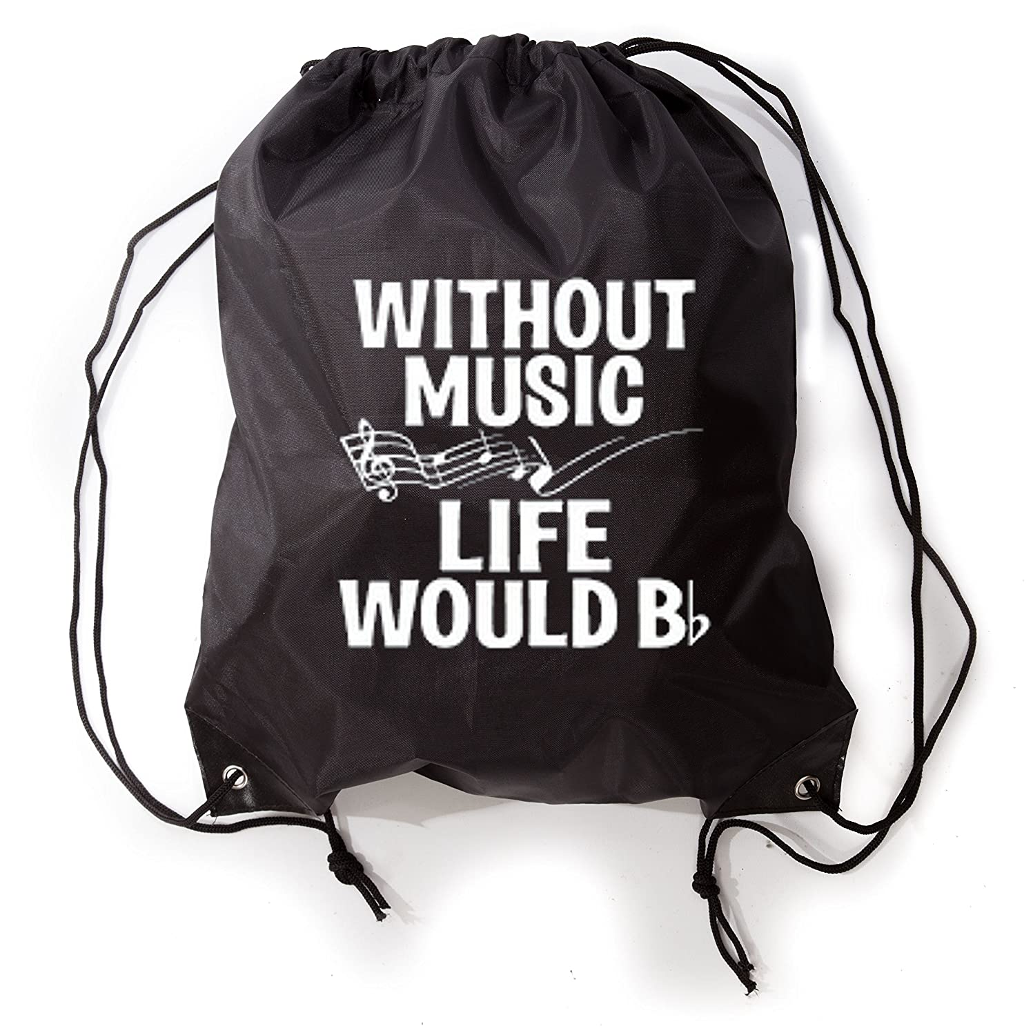 Without Music Life Would BフラットFunny Music Lovers巾着ジムバッグスニーカーバッグ B017J28GWK