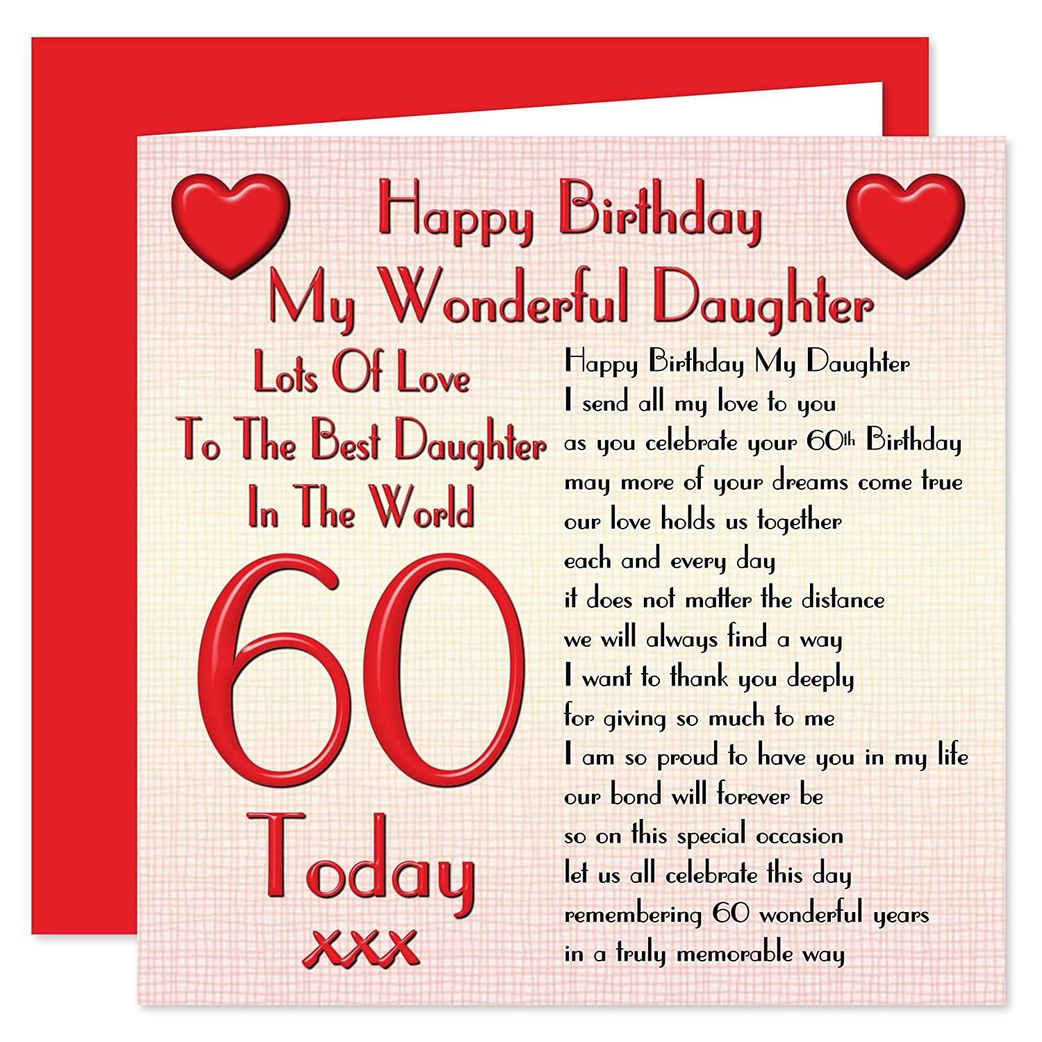 Pleasant Daughter 60Th Happy Birthday Card Lots Of Love To The Best Funny Birthday Cards Online Inifodamsfinfo