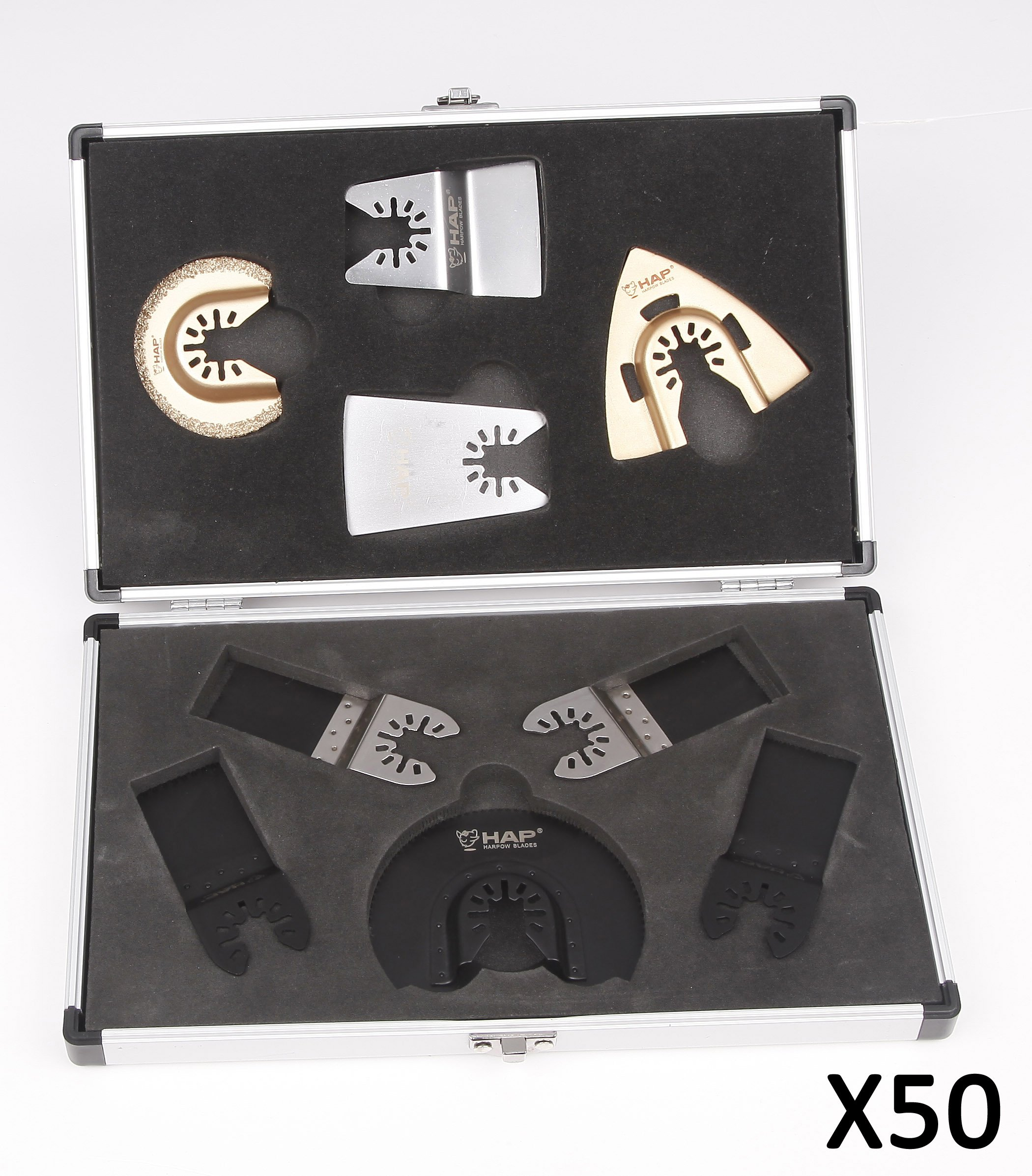 Harpow 9pcs Aluminium Case Set,power Oscillating Tool Blades,multitool Blades,power Tool Saw Blades,fits Fein Bosch Craftsman Rockwell Einhell Westfalia Ferm Pro-line Matrix Tools, 50 Pack