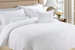 Cozy Line Home Fashions Square Maze Solid White 100% Cotton Quilt Set, Reversible Bedding Bedspread Coverlet,for Bedroom/Guestroom(Maze - White, Twin - 2 Piece)