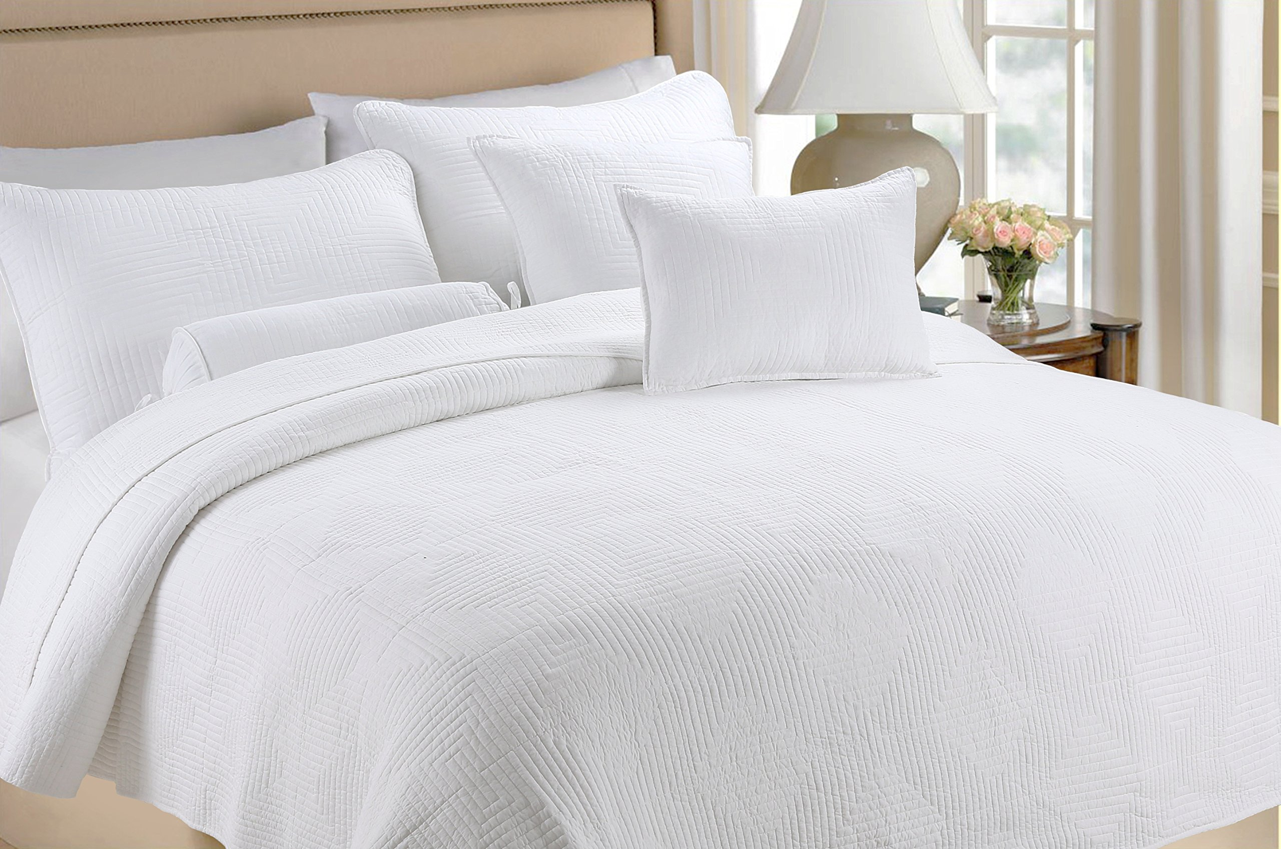 Cozy Line Home Fashions 100% COTTON Solid White Maze Hotel Quilt Set, Reversible Bedding Bedspread Coverlet,For Bedroom/Guestroom(Maze - White, King - 3 piece)