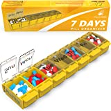 Weekly Pill Organizer Vitamin Holder - Large Pill Container Box - Easy Open Medication Dispenser Case, Large Medicine 7 Day Box - Vitamin Organizer Large 7 Compartments