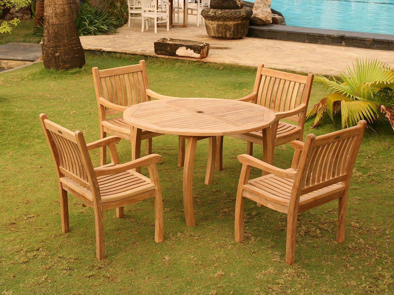 Amazon com jakarta teak 5pc dining set garden outdoor