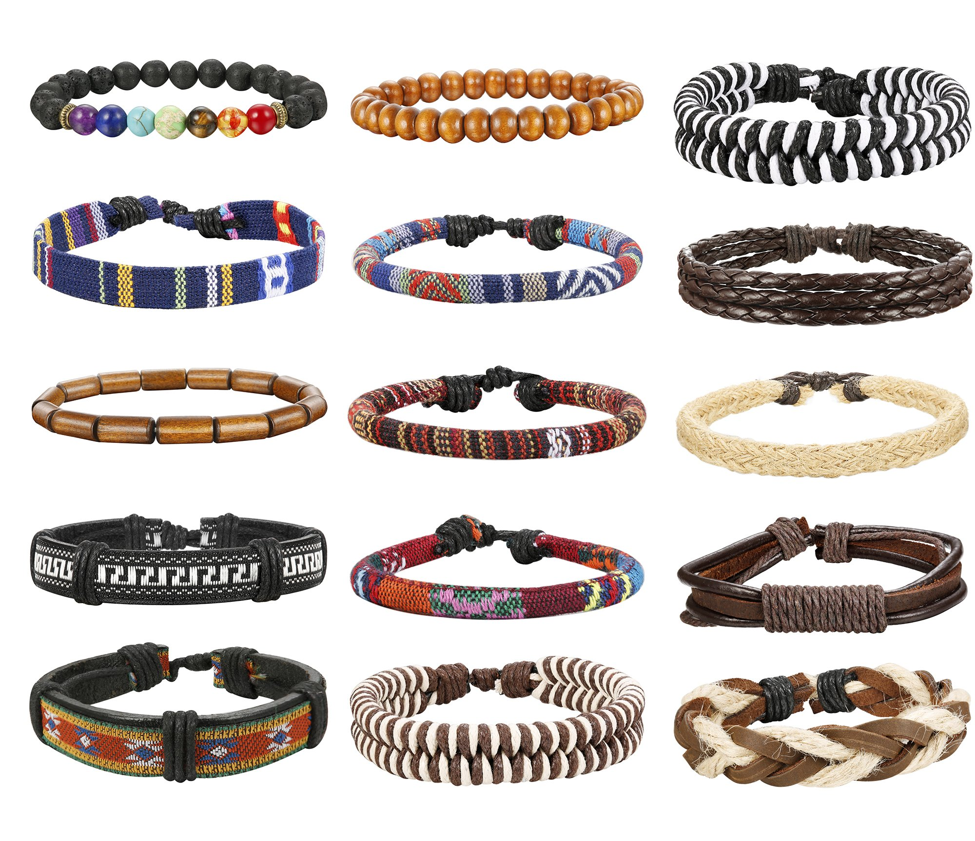 Thunaraz 15Pcs Braided Leather Bracelets for Men Women Natural Stone Wooden Beaded Bracelet Bangle Wrap Adjustable