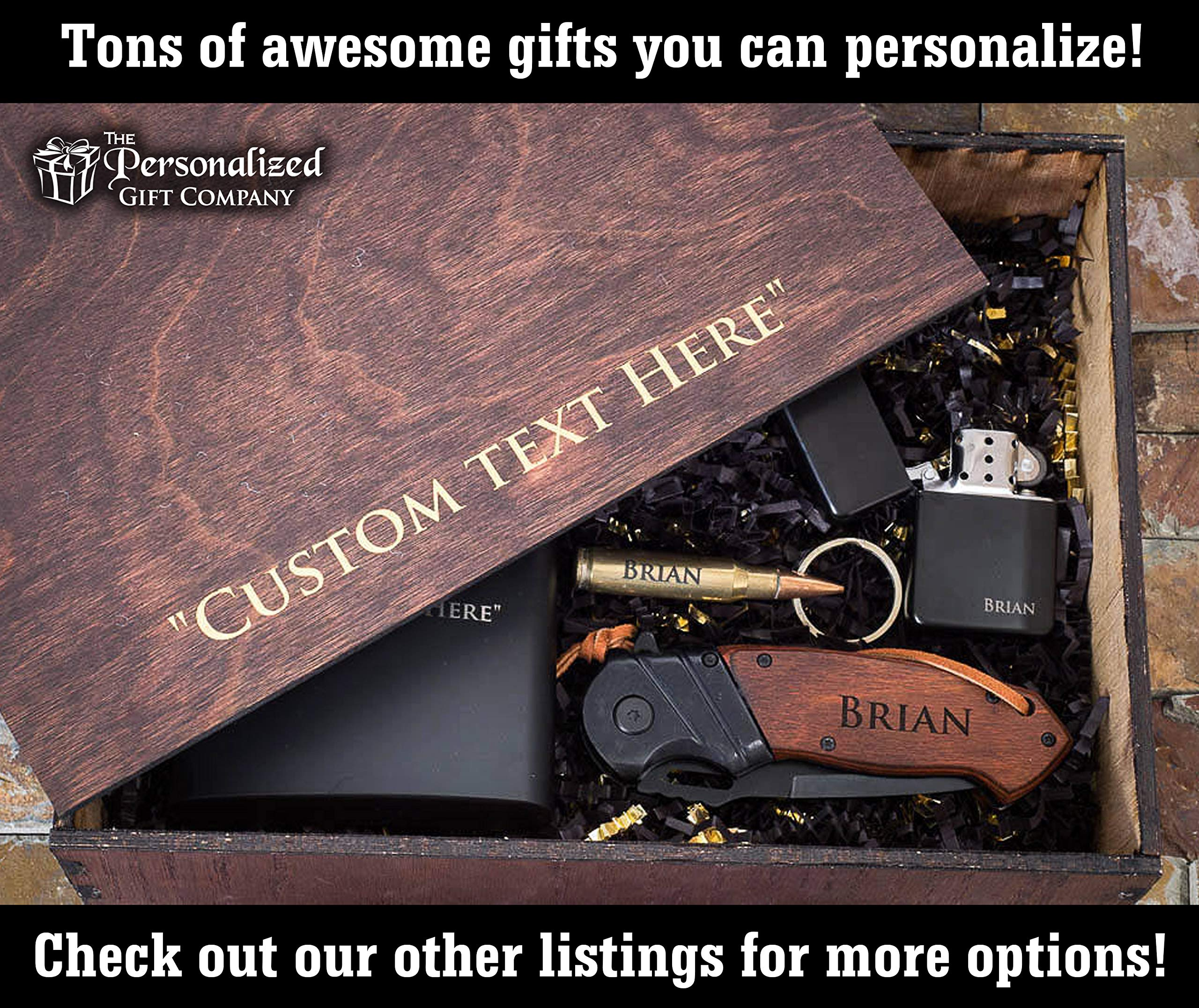 Personalized Gift Baskets for Men – Engraved Pocket Knife, Flask & Lighter + Gift Boxes with Lids – Groomsmen Gifts Box Set for Men by The Personalized Gift Co (Image #4)