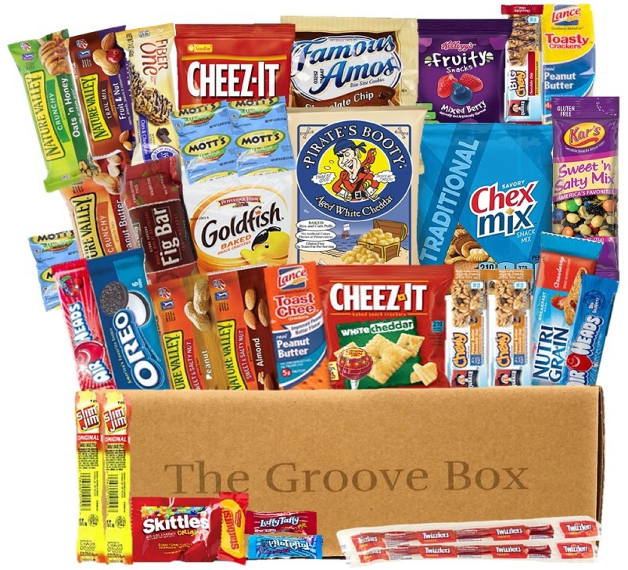 The Groove Box Variety Snack Box Assorted Chips, Snacks, Bars and More Over 40 Snack Items Care Package To Share and Send Friends, College Students, Military, Road Trip Snack Box