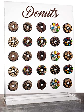 Donut Wall Display-Donut Stand,Wall Doughnut Holder-Clear,Acrylic,Standing- Floating Display For Donuts,Bagels,Cookies,Party Favors Table- For Wedding,Birthday,Baby Shower,Office Parties