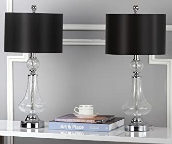 Amazon.com: Safavieh MERCURY 24 INCH CRACKLE GLASS TABLE LAMP/BLACK SATIN  SHADE: Home U0026 Kitchen