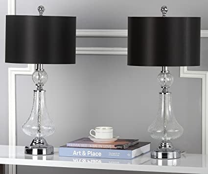 Safavieh CLEAR CRACKLE 24 INCH GLASS TABLE LAMP/BLACK SATIN SHADE