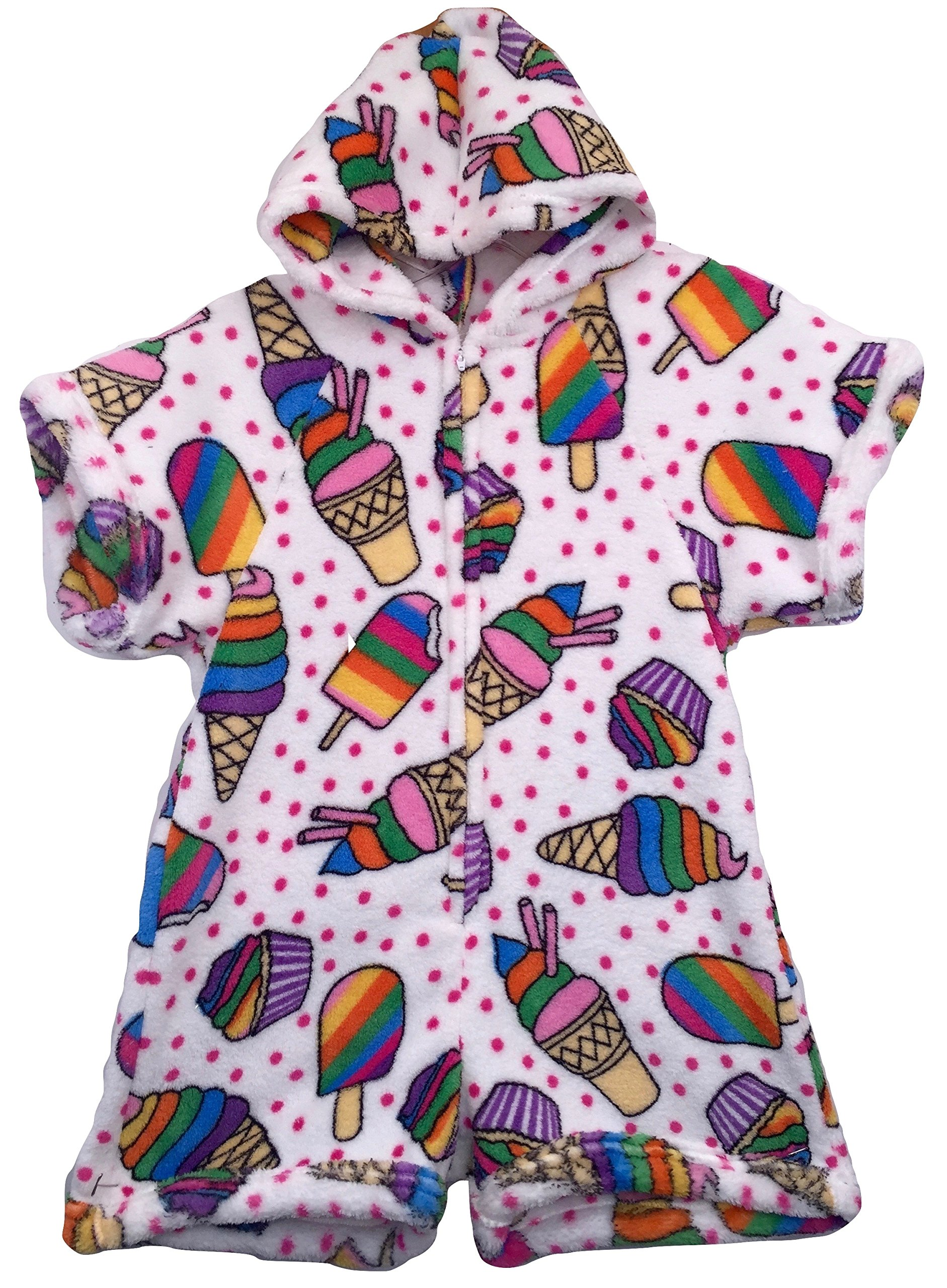 Made with Love and Kisses Fuzzy Plush Romper with Hood - White Rainbow Desserts - 10/12