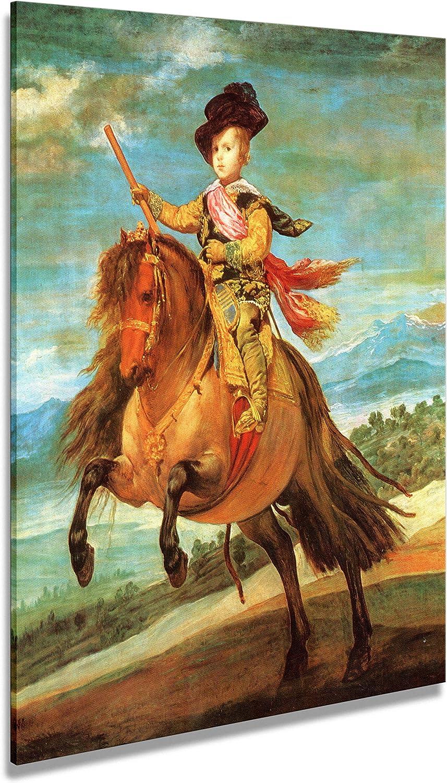Artenor Cuadro Velázquez Diego El Príncipe Baltasar Carlos a caballo 1635 - Impresión sobre lienzo enmarcado - 98 x 121 cm