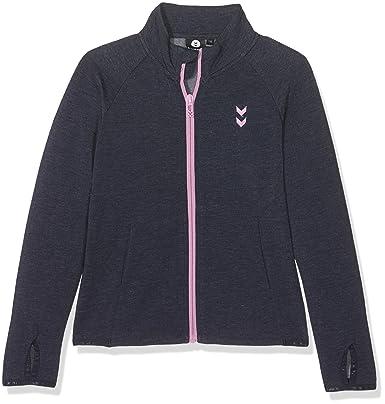 Hummel Mädchen Sweatjacke JUNIOR V AYAN ZIP SWEATSHIRT Longsleeve Blau Sweater mit Reißverschluss Baumwollshirt Kinder Zipper für Freizeit &