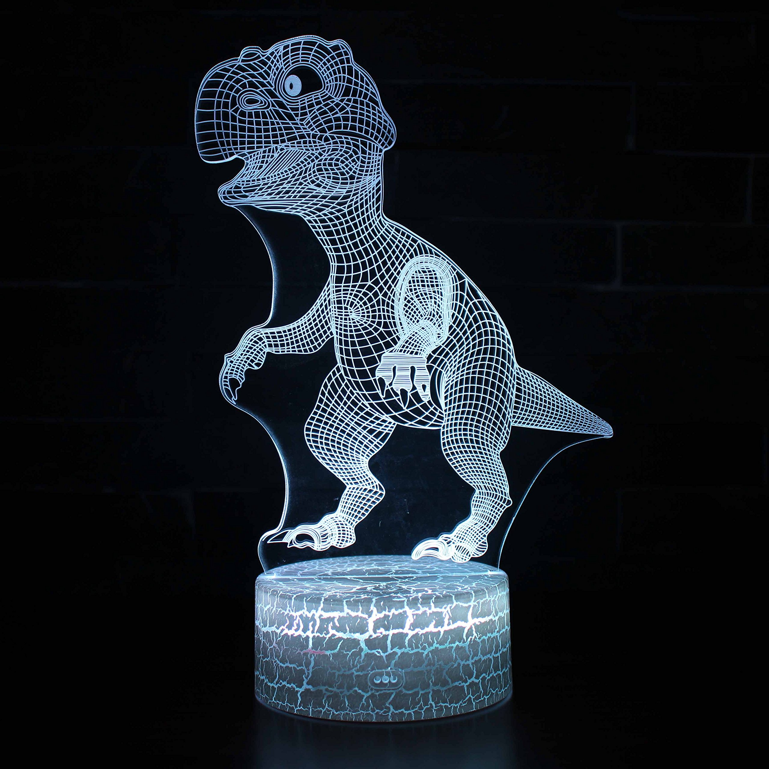 Borang Dinosaurs 3D Illusion Lamp Christmas Gift Night Lights Animal Light Led Desk Lamps Anniversary Gifts for Boys Kids Home Decor Office Bedroom Party Decorations Nursery Lighting 7 Color Crackle
