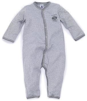 b7e27111b3201 Petit Bateau - 65895 - Pyjama Bébé Garçon à Fines Rayures sans Pieds - Gris  Chine