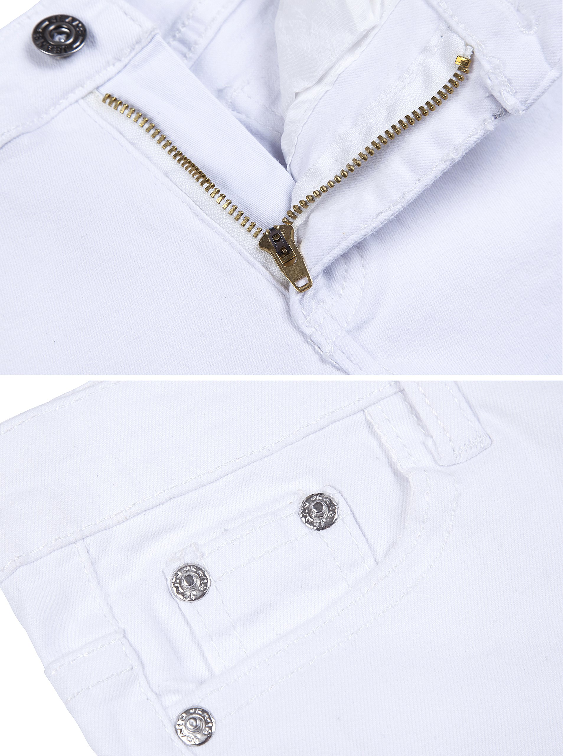 Girls Fashion Skinny Fit Jeans Distressed Ripped Hole Denim Pants White 7t by GALMINT (Image #3)
