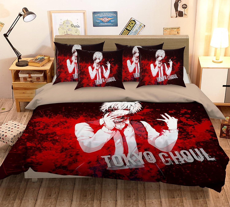 3D Red Black Cartoon Anime Tokyo 432 Bedding Pillowcases Quilt Duvet Cover Set Single Queen King 3D Photo Bedding AJ WALLPAPER UK Seven Full