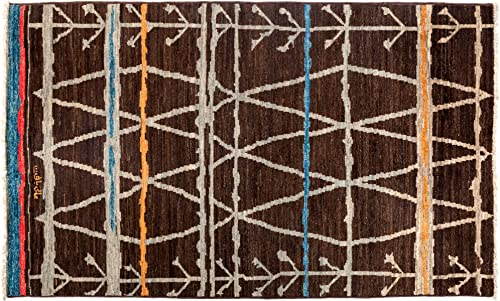 Solo Rugs Moroccan Sherwood One of a Kind Hand Knotted Area Rug, Dark Brown – Blue Line, 4 10 x 8 0