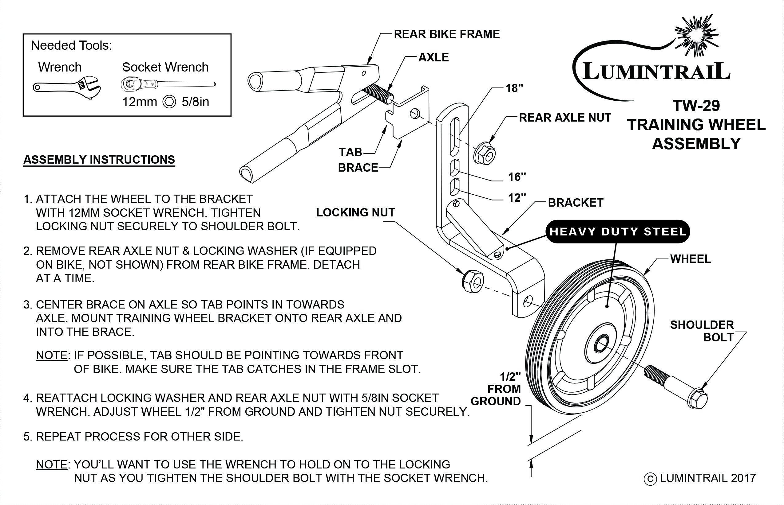 Lumintrail Children's Bicycle Training Wheels 12-18 Inch Kids Bike Stabilizer by Lumintrail (Image #5)