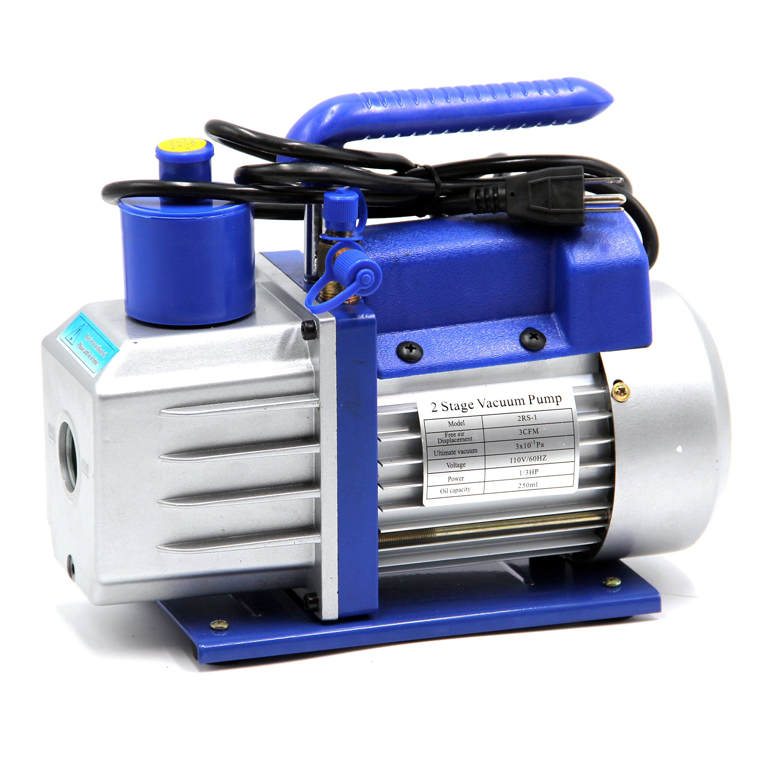 HFS (R Vacuum Pump Double Stage 3CFM ; 110V/60HZ ; Inlet: SAE 1/4''-3/8'' SAE; Ultimate Vacuum: 310-1 PA