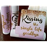 12 Bridal Shower Lip Balms - Bachelorette Party Favors - Kissing the Single Life Goodbye - Gold Glitter Bridal Shower