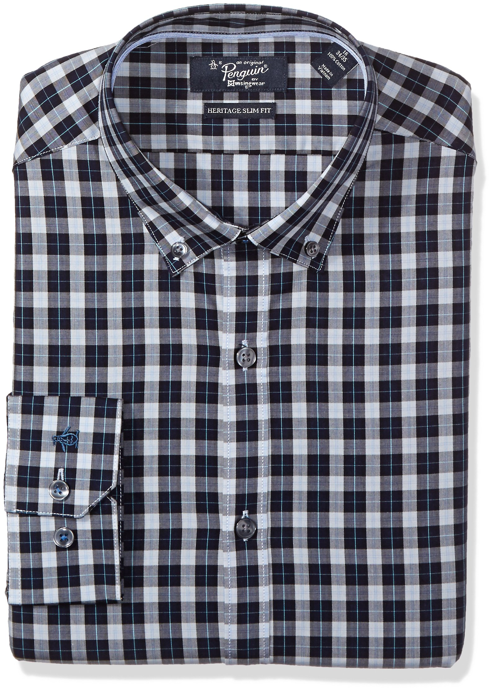 Original Penguin Men's Slim Fit Tonal Plaid Dress Shirt, Navy/Grey, 16.5 34/35 by Original Penguin