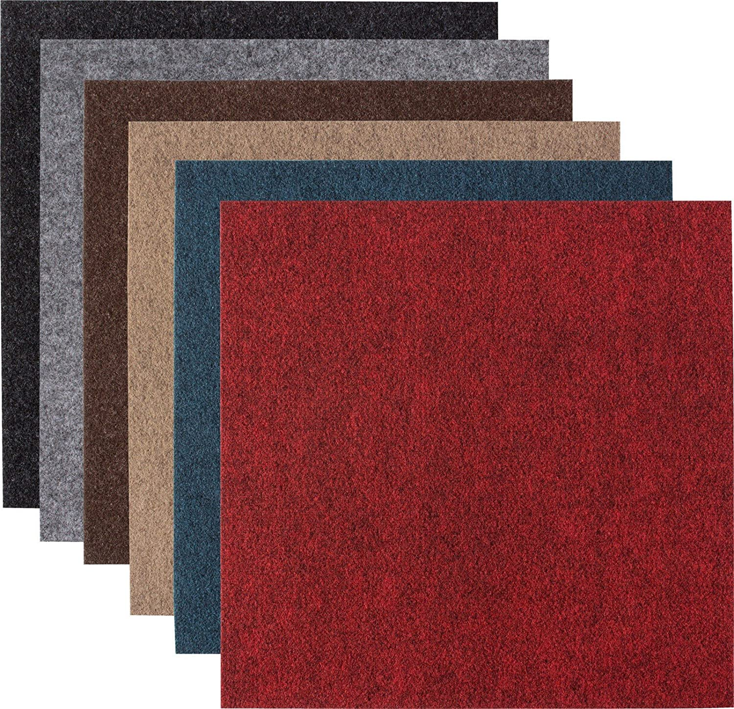 Andiamo Self-Adhesive Felt Carpet Tiles Pack (8m² ), 40x40 each,, set consists of 50 tiles=8m² , Colour:Black set consists of 50 tiles=8m²