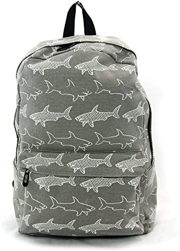 Grey Shark Backpack in Canvas Material