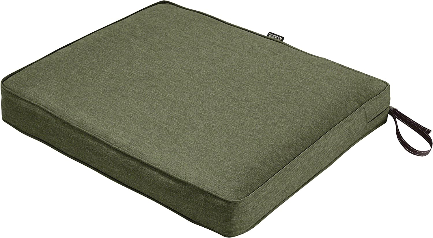Classic Accessories Montlake Water-Resistant 21 x 19 x 3 Inch Rectangle Outdoor Seat Cushion, Patio Furniture Chair Cushion, Heather Fern Green