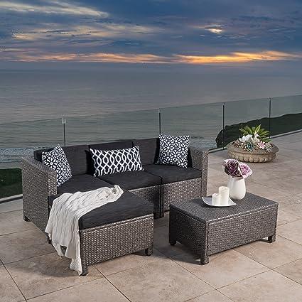 Outdoor Patio Furniture 5-pce Wicker L-Shaped Sectional Sofa Set Black  Cushions - Amazon.com : Outdoor Patio Furniture 5-pce Wicker L-Shaped Sectional