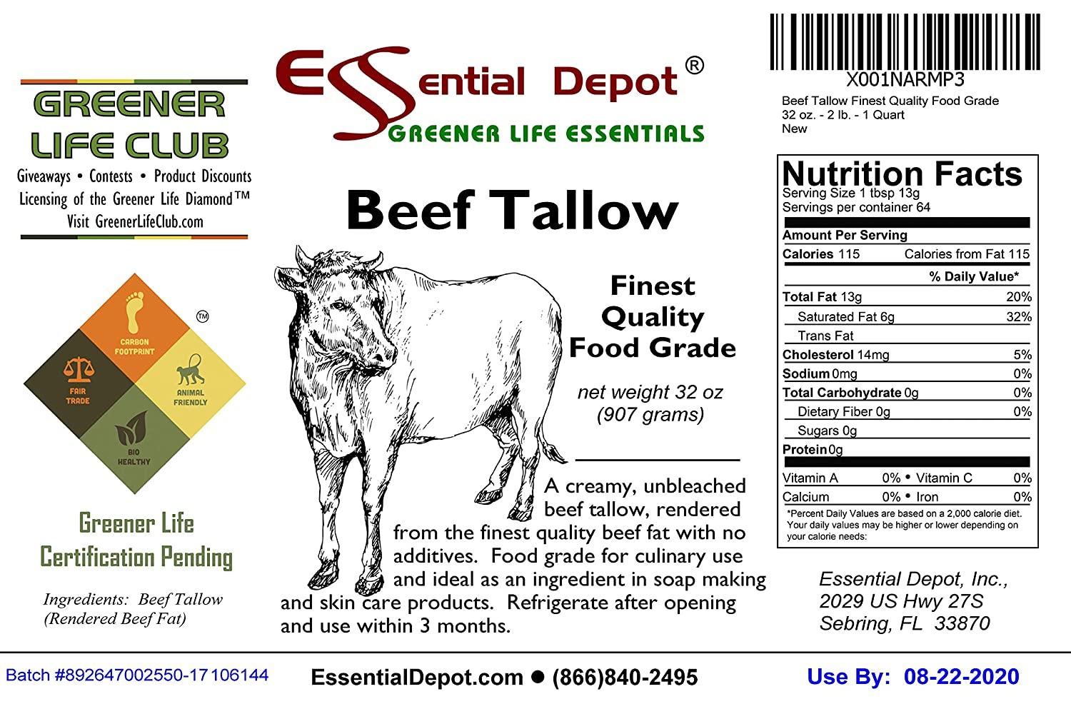 884259357a6 Amazon.com   Beef Tallow Finest Quality Food Grade - 32 oz. - 2 lb. - 1  Quart   Grocery   Gourmet Food