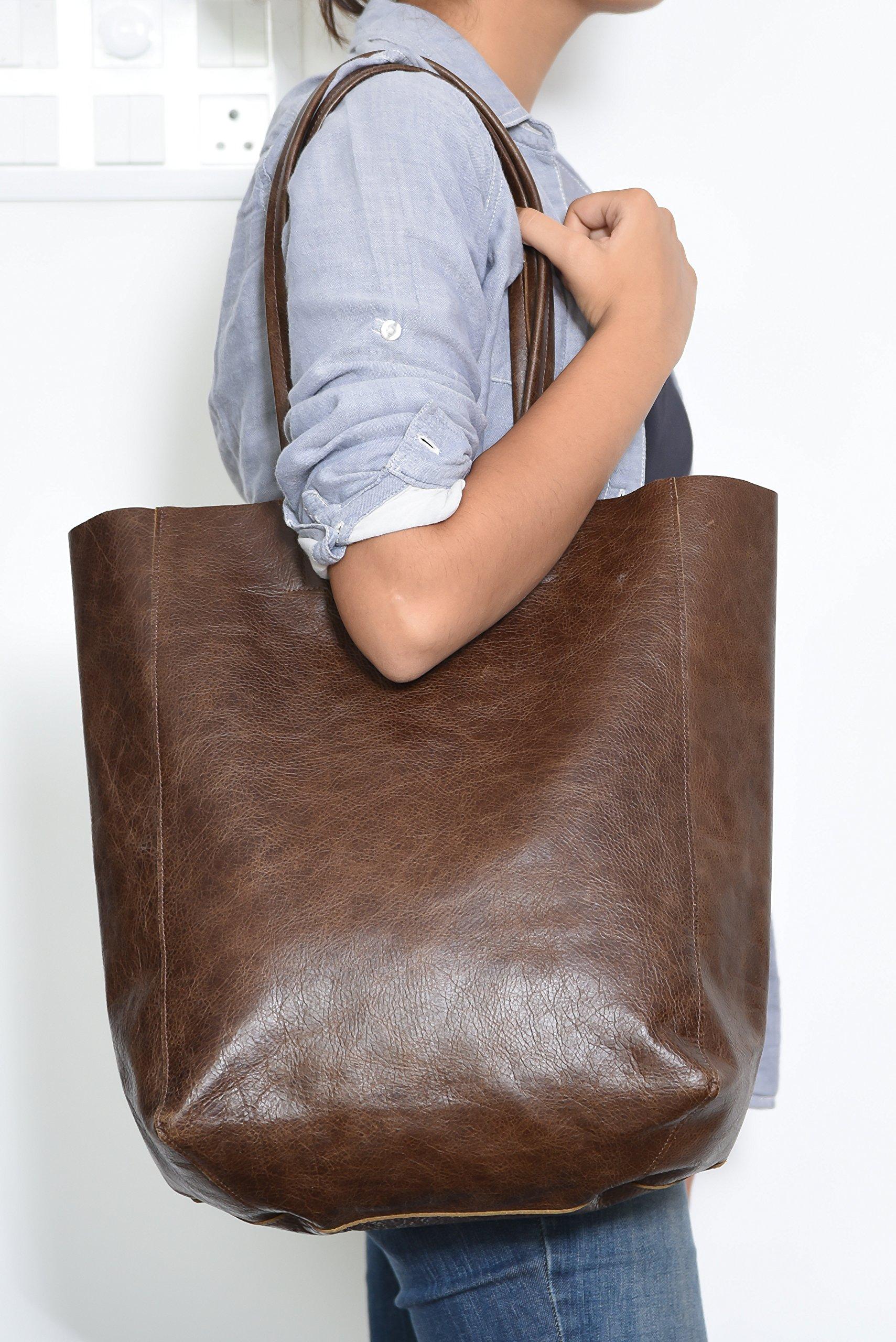 Women's Vintage Genuine Leather Tote Shoulder Bag - Large Capacity Travel Handbag by THE AARTISAN (Image #4)