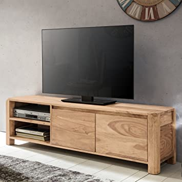 FineBuy Lowboard Massivholz Akazie Kommode 140 cm TV-Board Ablage ...