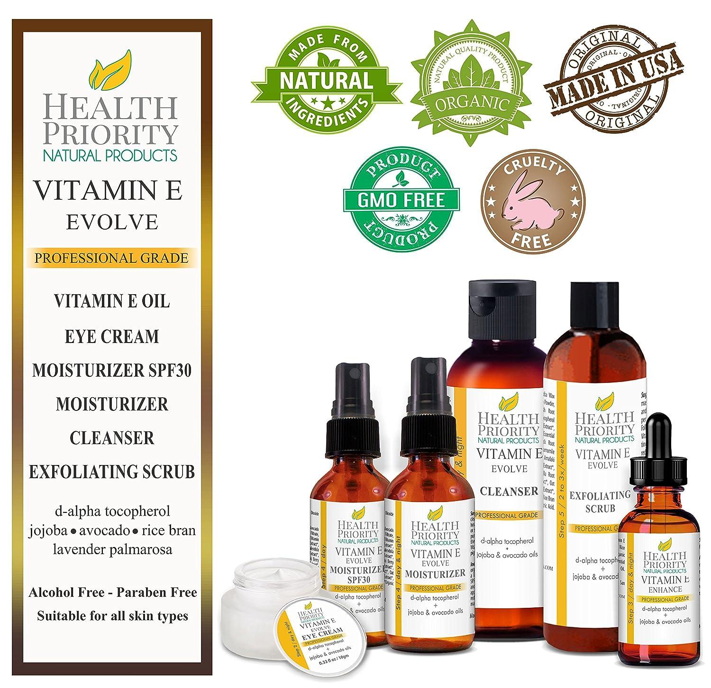 Natural & Organic Vitamin E Skincare System. Vitamin E Oil, Vitamin E Eye Cream, Vitamin E Daytime Moisturizer with SPF 30, Vitamin E Moisturizer, Vitamin E Exfoliating Scrub & Vitamin E Cleanser