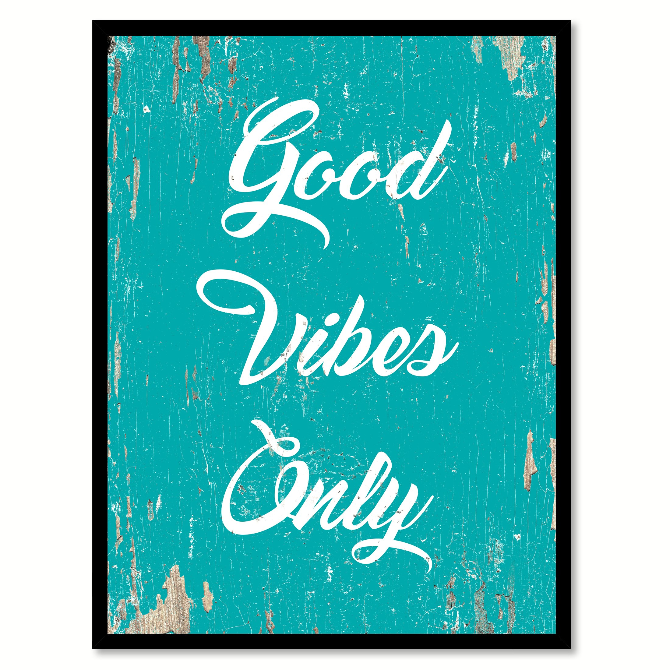 Spotcolorart Good Vibes Only Handcrafted Canvas Print, 7 X.