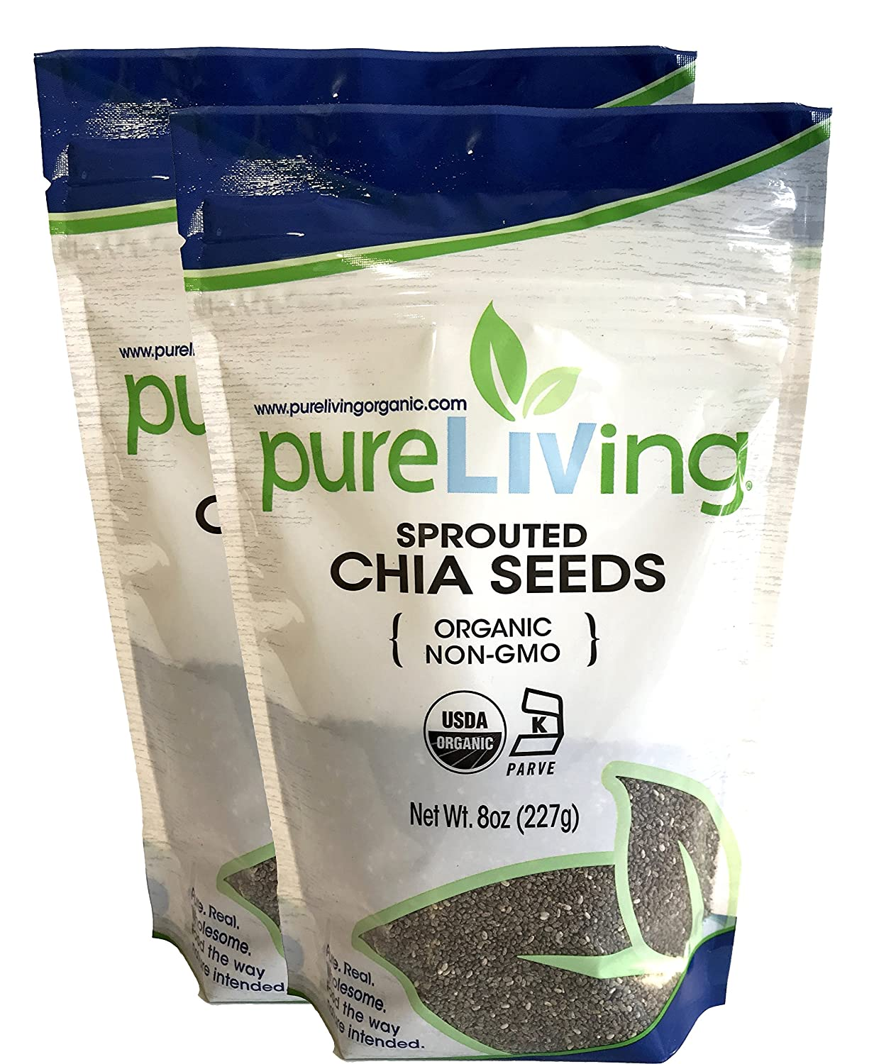 Pure Living - Organic Sprouted Chia Seeds, 2 Packs - 8 Ounce each