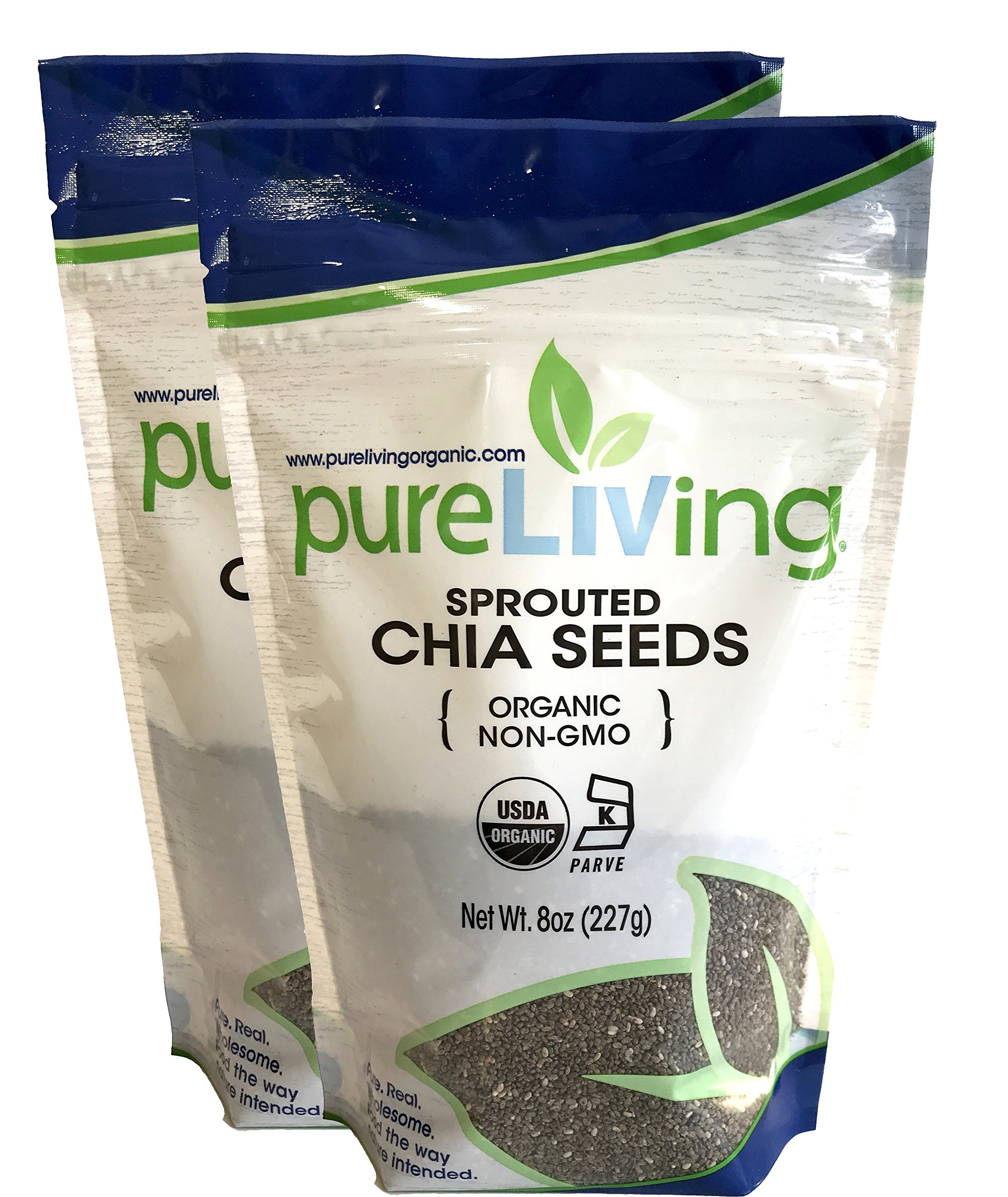 Pure Living - Organic Sprouted Chia Seeds 8 Oz- 2 Pack