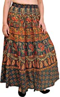 Exotic India Sanganeri Long Skirt with Printed Elephants and Peacocks