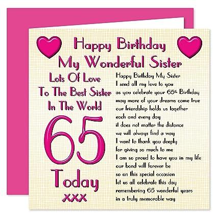 Sister 65th Happy Birthday Card