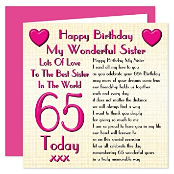 Sister 65th Happy Birthday Card