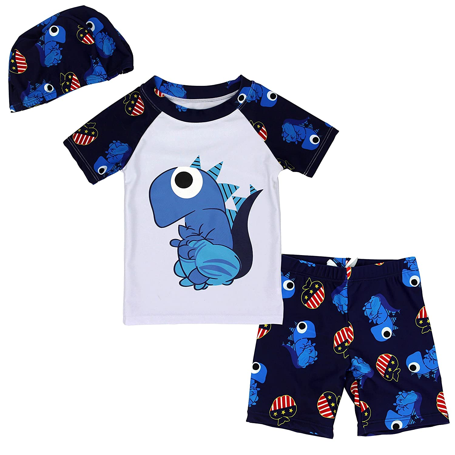 Boys Short Sleeve Rash Guard Dinosaur Swimsuit Set