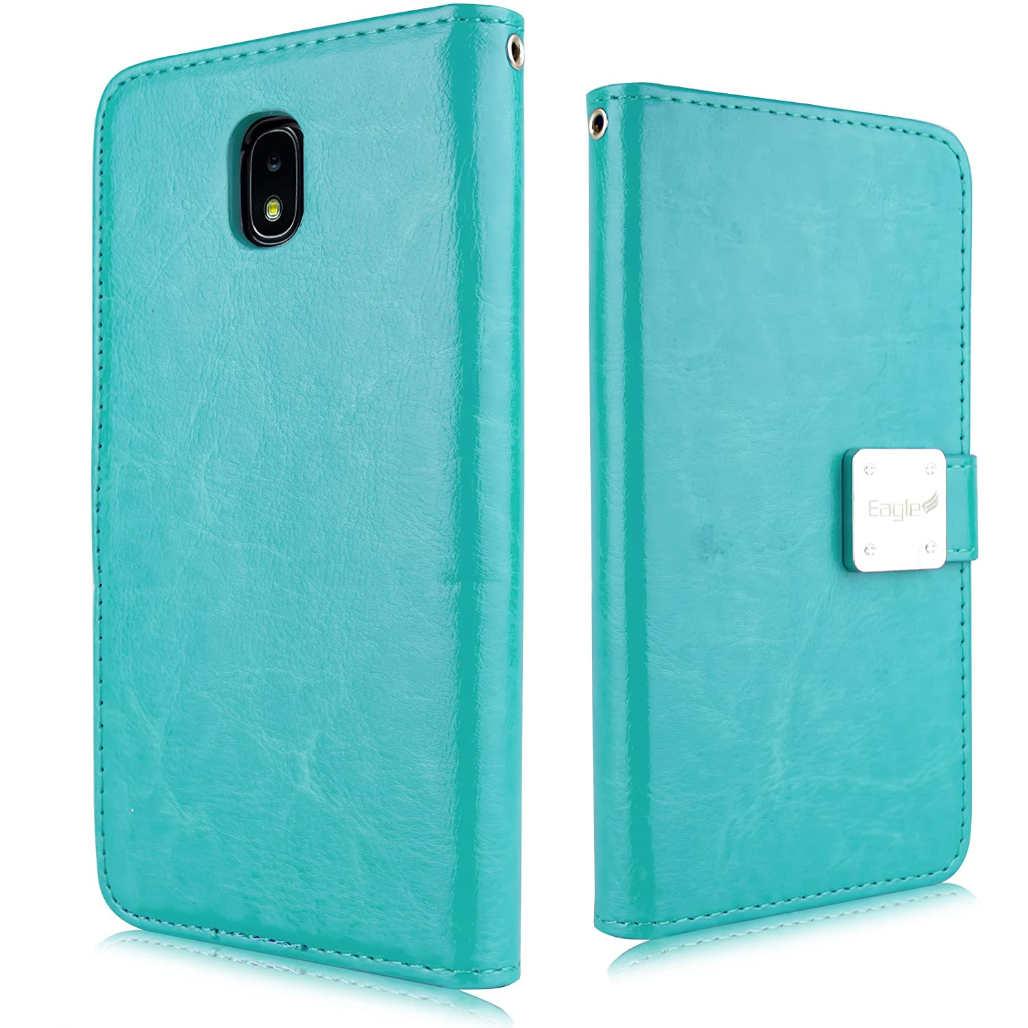 For Samsung Galaxy J7 2018 Refine, J7 Star, Crown, Aura, Aero, Eon, J7 Top (SM- J737) PU Leather 3 Credit Card Slot Detachable Magnetic TPU Case with Wallet [2 in 1 Pouch Cover] (Teal)