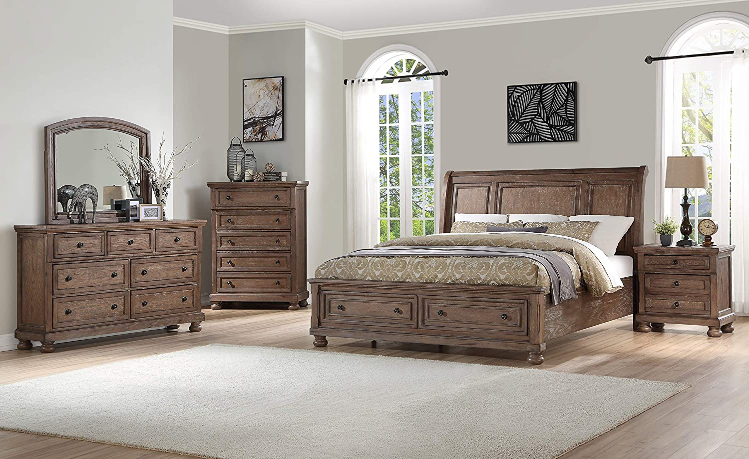 Fortuna 5 Piece Queen Bedroom Set with Chest in Weathered Brown Finish