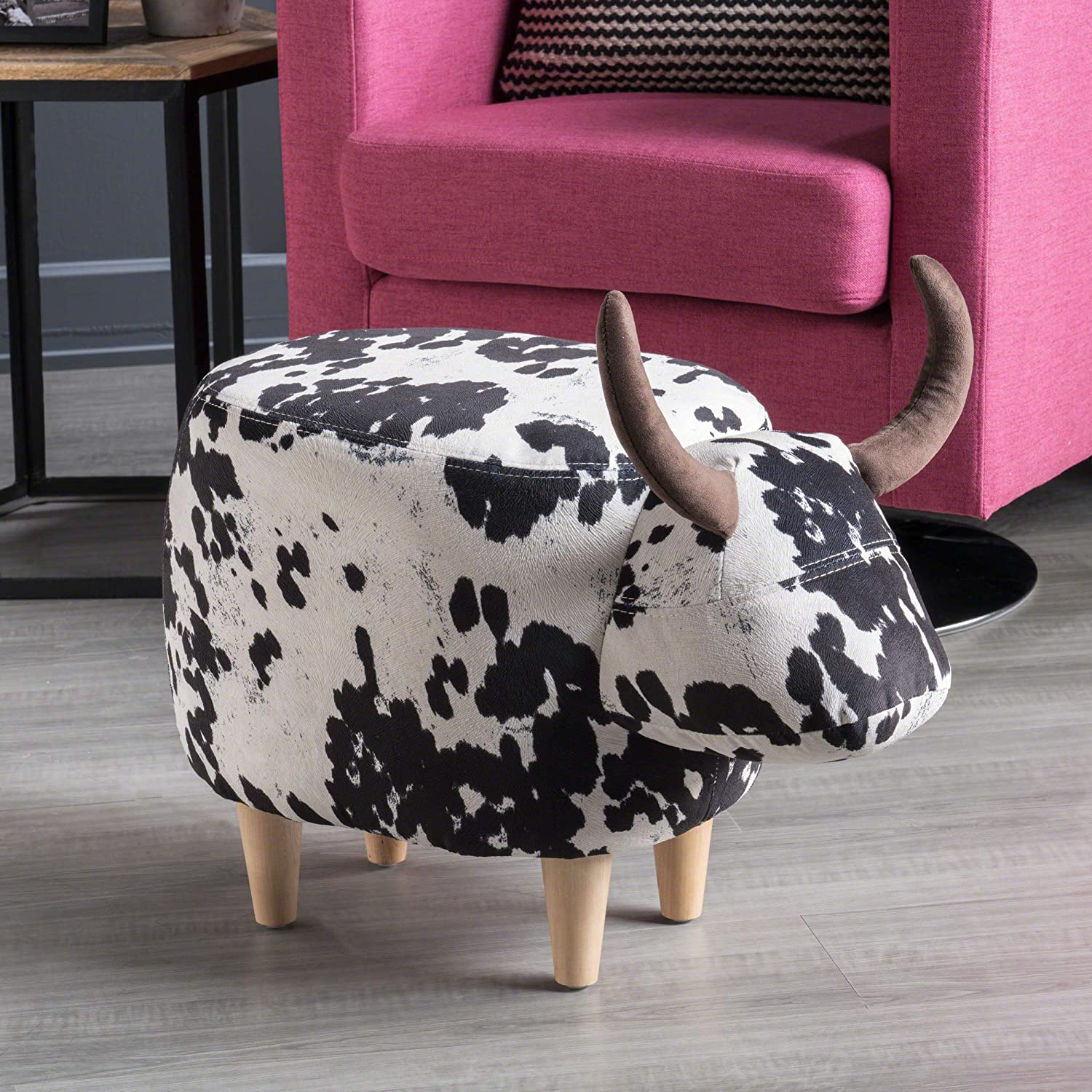 Christopher Knight Home 302161 Bertha Ottoman, Black and White Cow