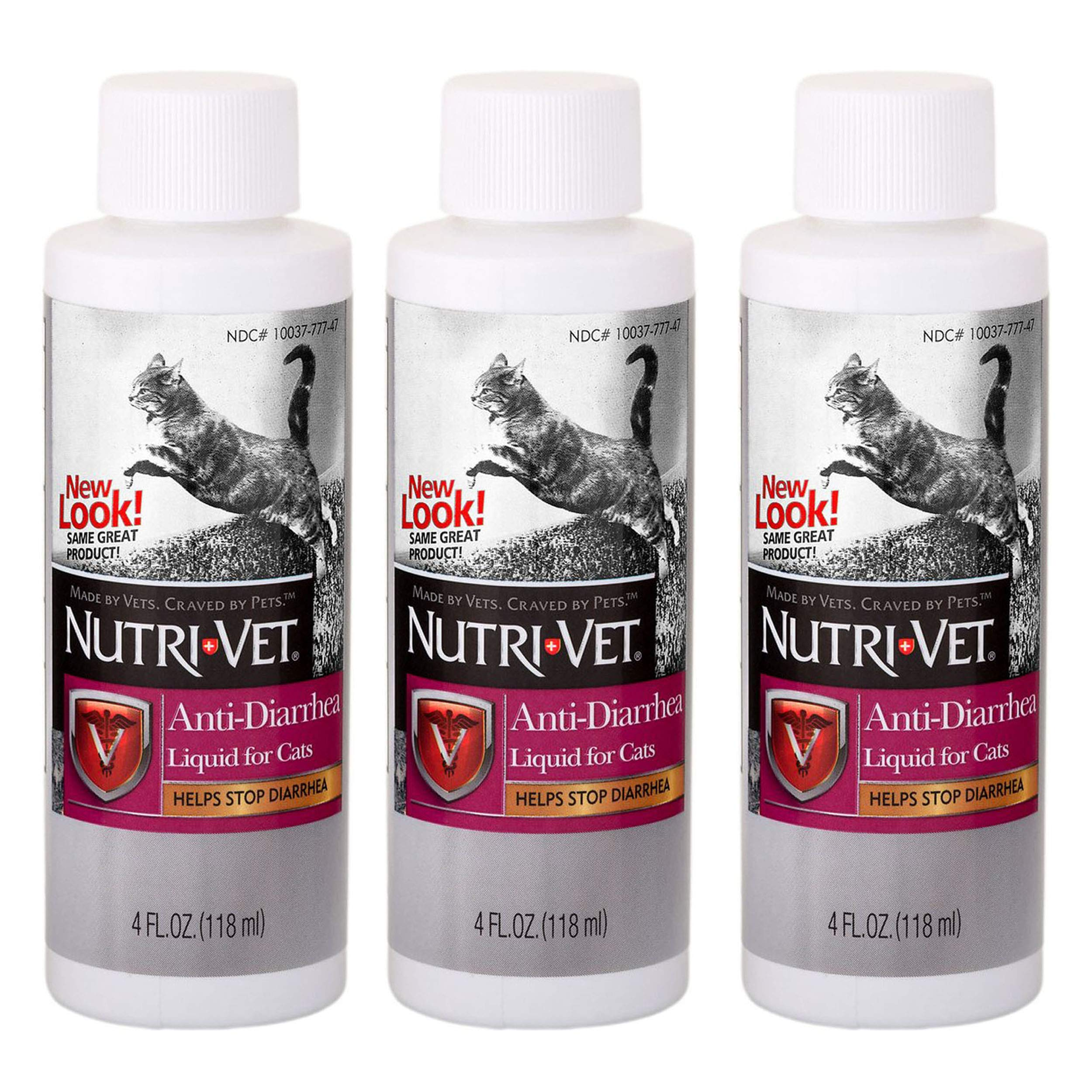 Cat Anti Diarrhea Liquid for Cats Helps Stop Diarrhea 3 Pack Total 12 oz Made in USA from Nutrivet by NutriVet Cat Anti Diarrhea (Image #1)
