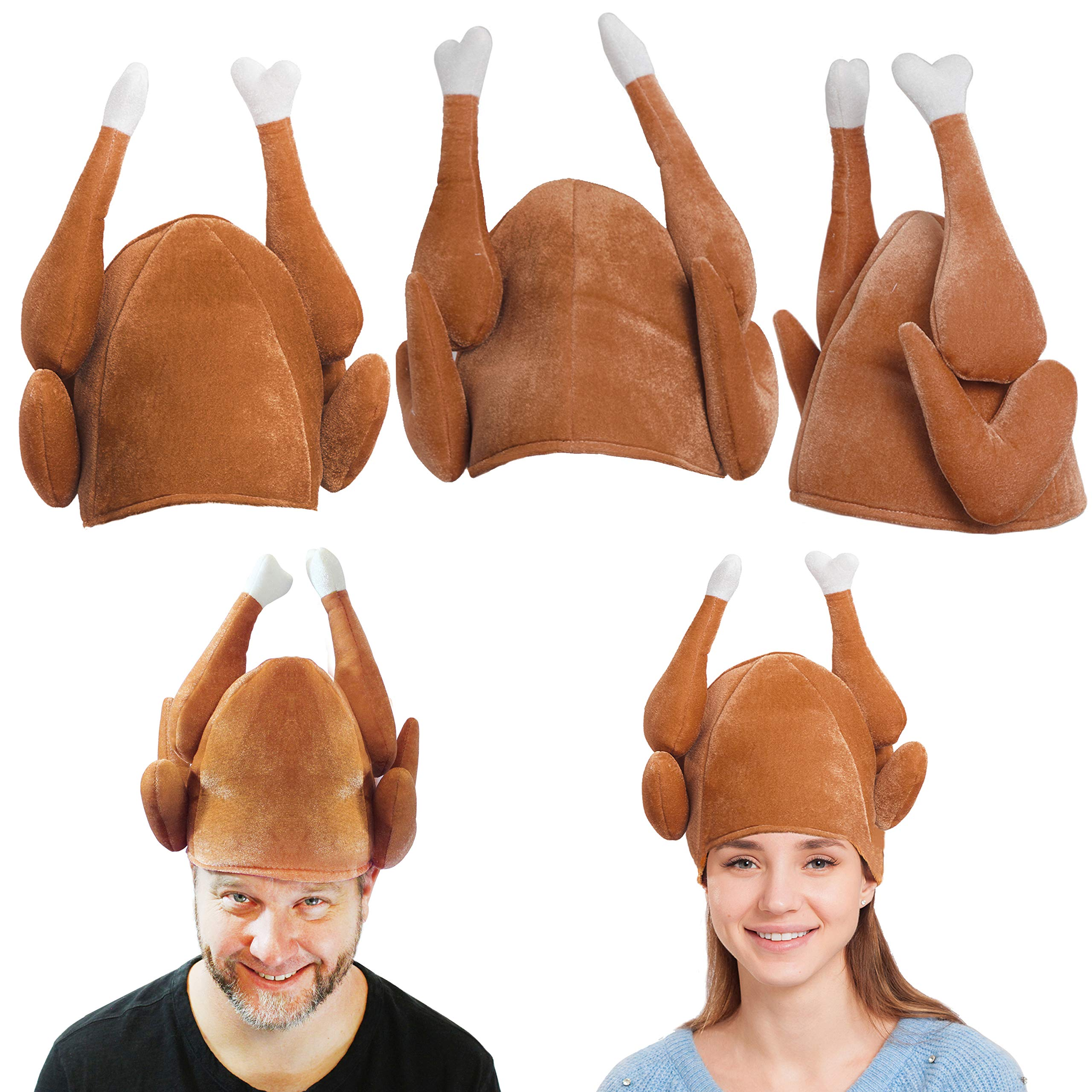 Plush Roasted Turkey Hats 3 Pack for Thanksgiving and Halloween Costume Dress Up Party by Spooktacular Creations