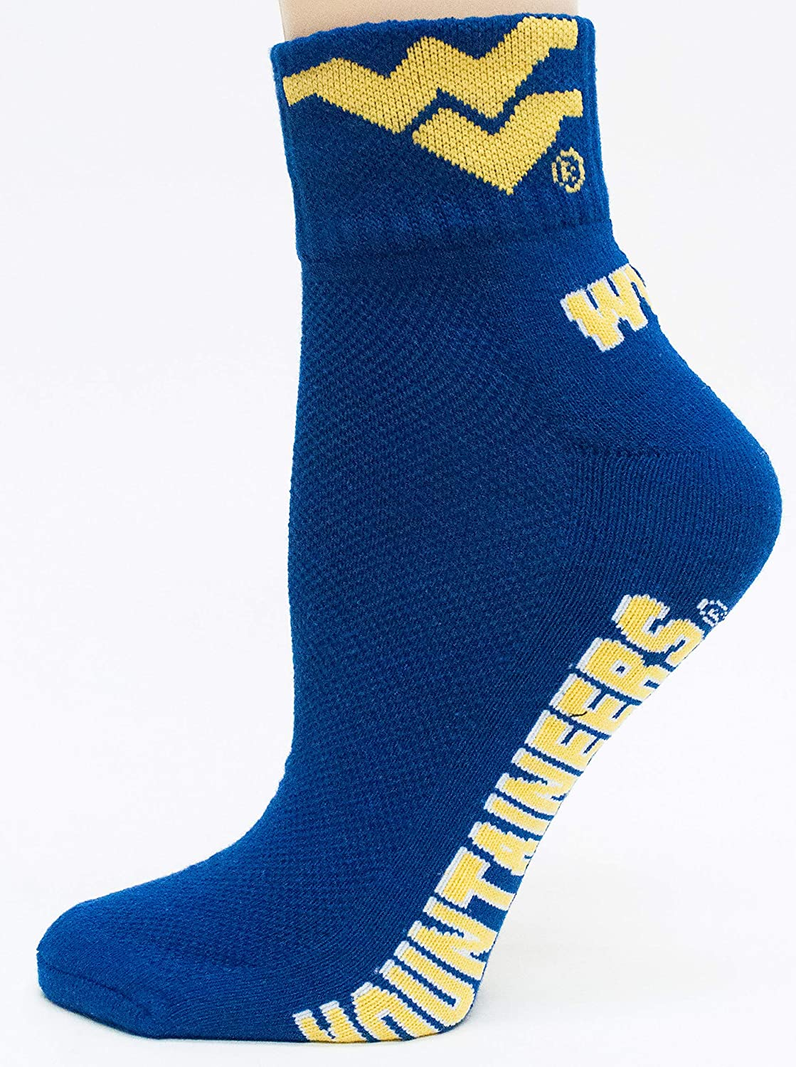 Gold//White Donegal Bay NCAA West Virginia Mountaineers Adult Mountaineers 1//4 Socks One Size
