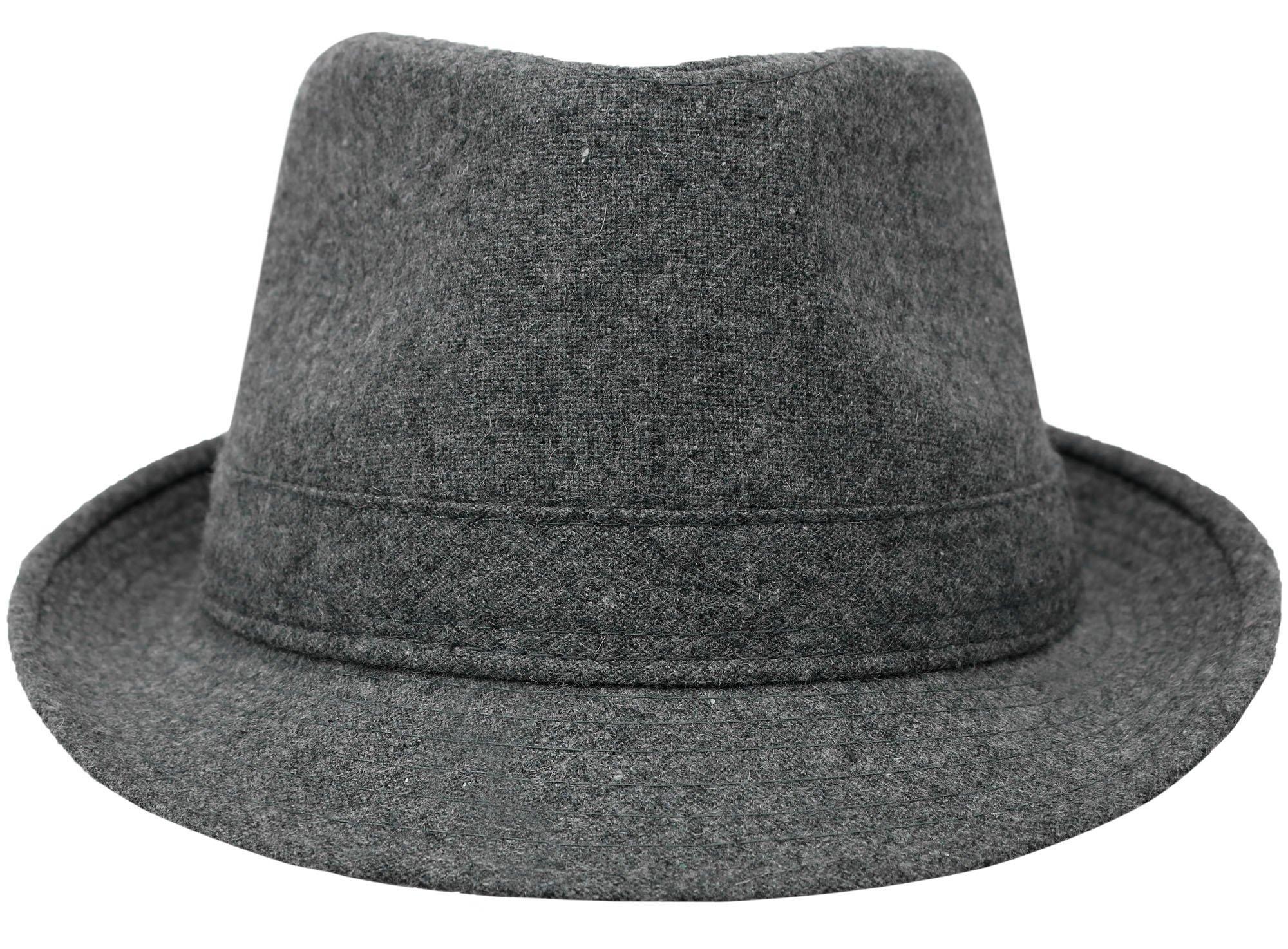Unisex Short Brim Wool Blend Classic Manhattan Fedora Hat, Grey