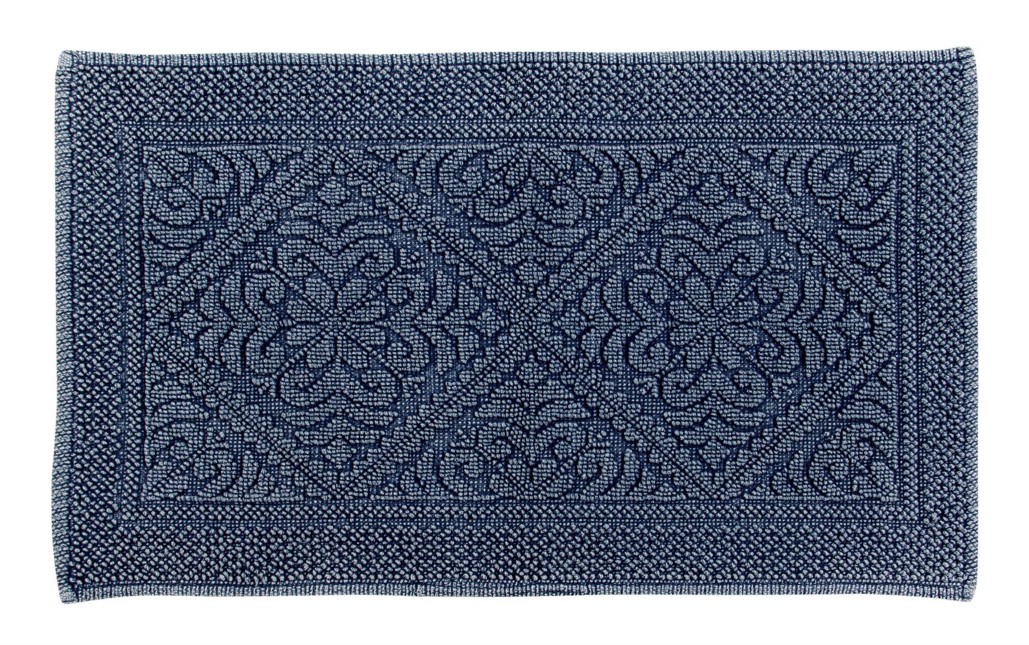 Better Trends/ Pan Overseas BATI2440NV Timeless Stonewash 100% Cotton Bath Mat, 24'' x 40'', Navy