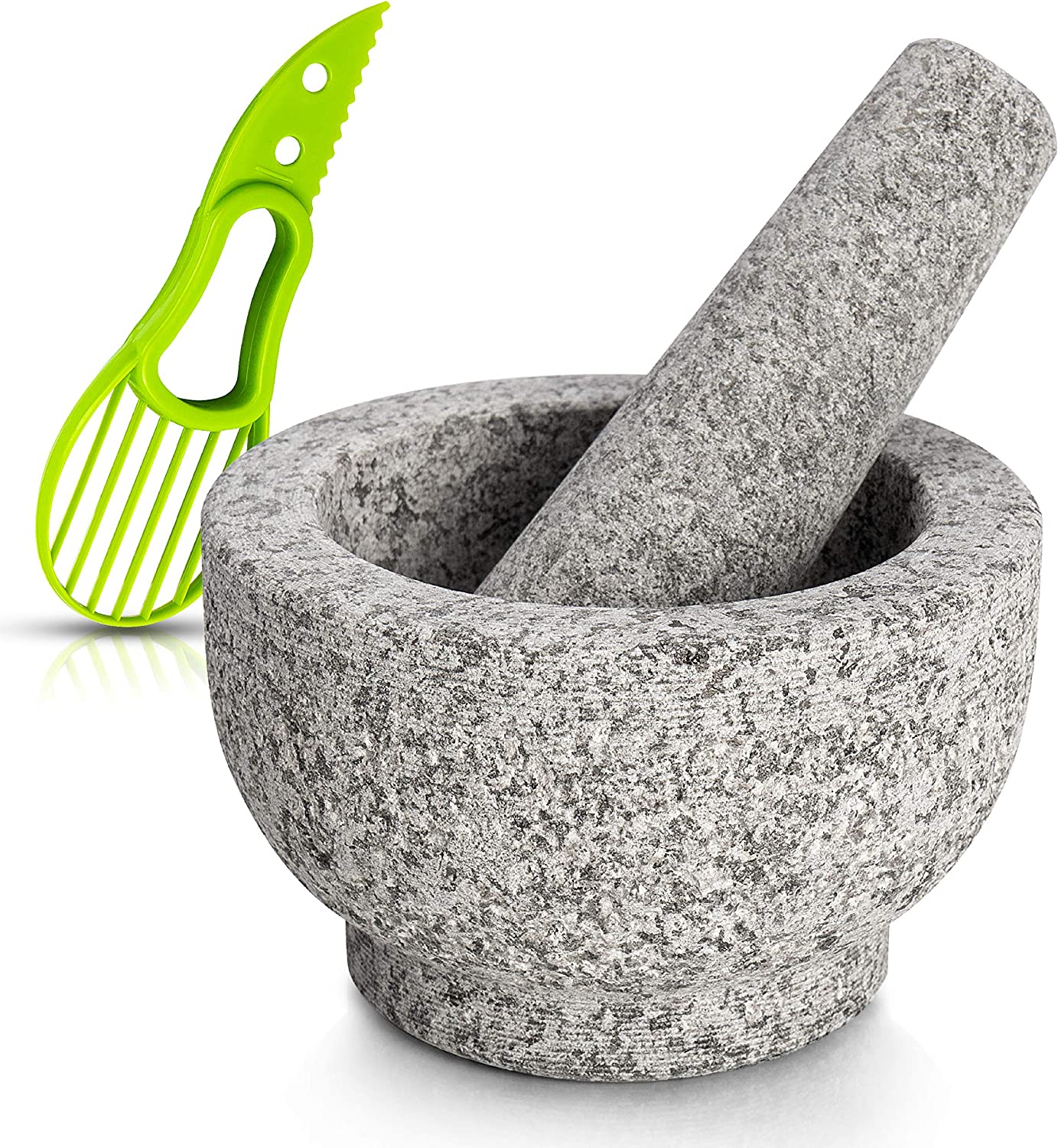 Mortar and Pestle Set Made of 100% Granite for the Kitchen Make Food Grinder and Serve Dishes Right At The Table Beautifully with Avocado Slicer.- Pitted Granite
