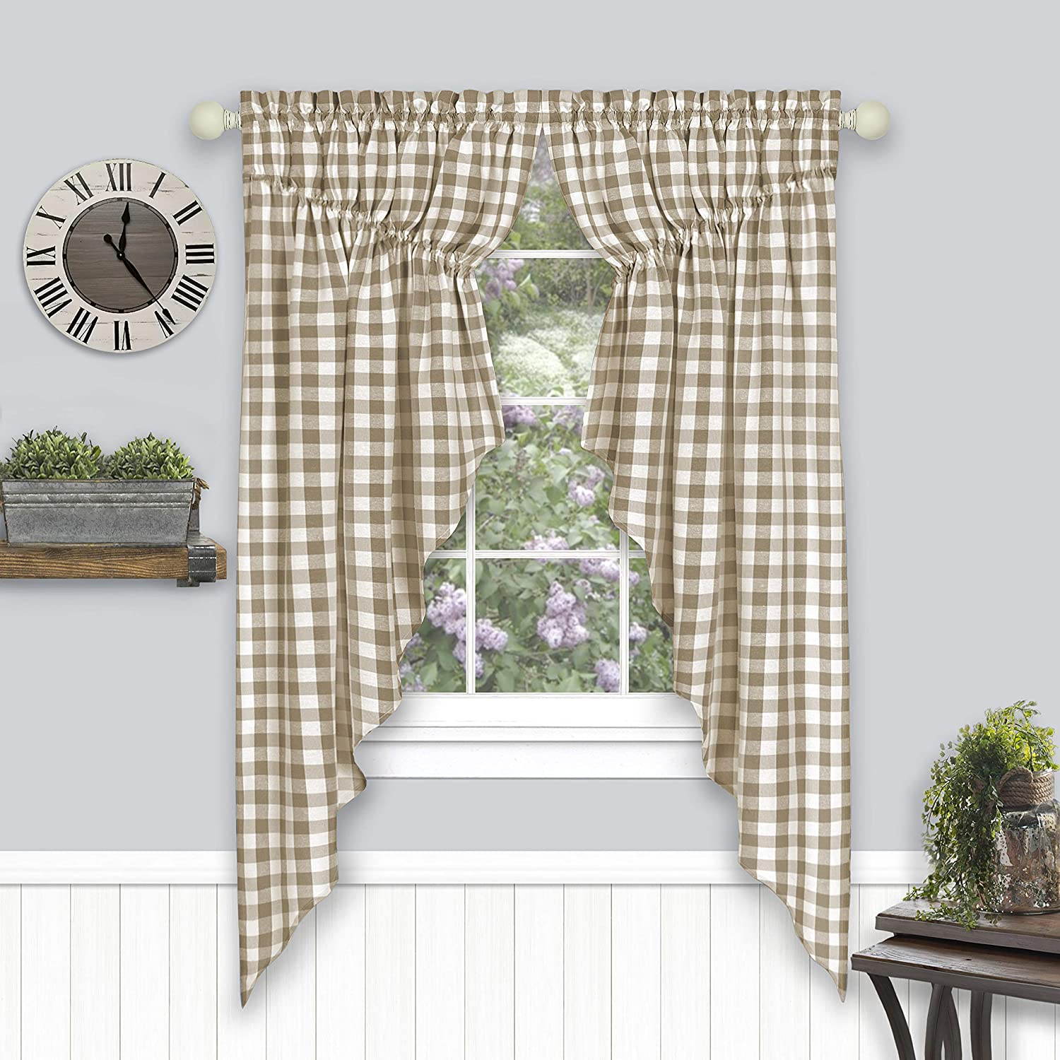 "Achim Home Furnishings Buffalo Check Gathered Swag Window Curtain Pair, 72"" x 63"", Taupe, Taupe & Ivory"